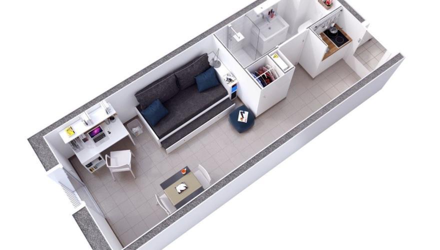 Appartement T1 - Vue découpée